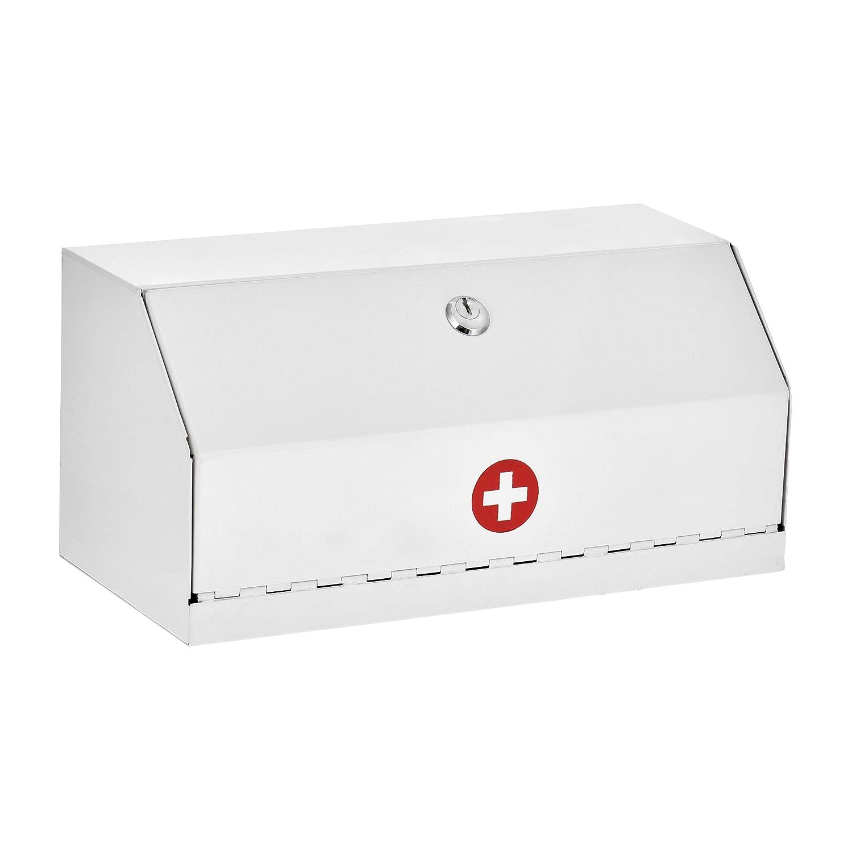 AdirMed Locking Drug Cabinet – Wall Mount Heavy Duty White Steel Prescription Medicine Safe & Medical Supply Storage w/Lock for Home, School & Office
