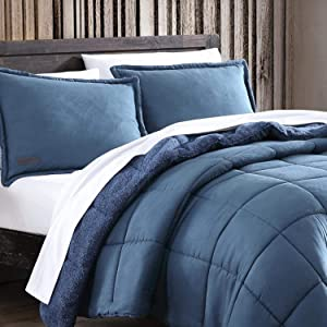 Eddie Bauer Home | Sherwood Collection | Comforter Set - Ultra Soft and Cozy, Sherpa Reversible Bedding with Matching Sham(s), King, Blue