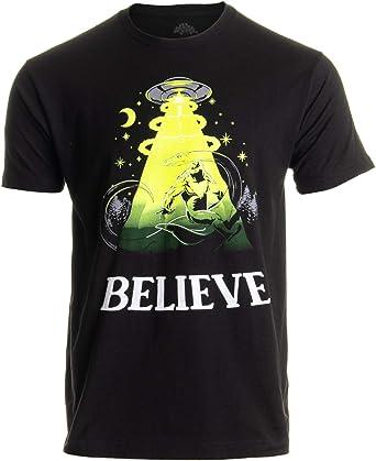 4e48b85d Believe | Bigfoot Nessie UFO Alien Abduction Funny Conspiracy Joke Men  T-Shirt-(
