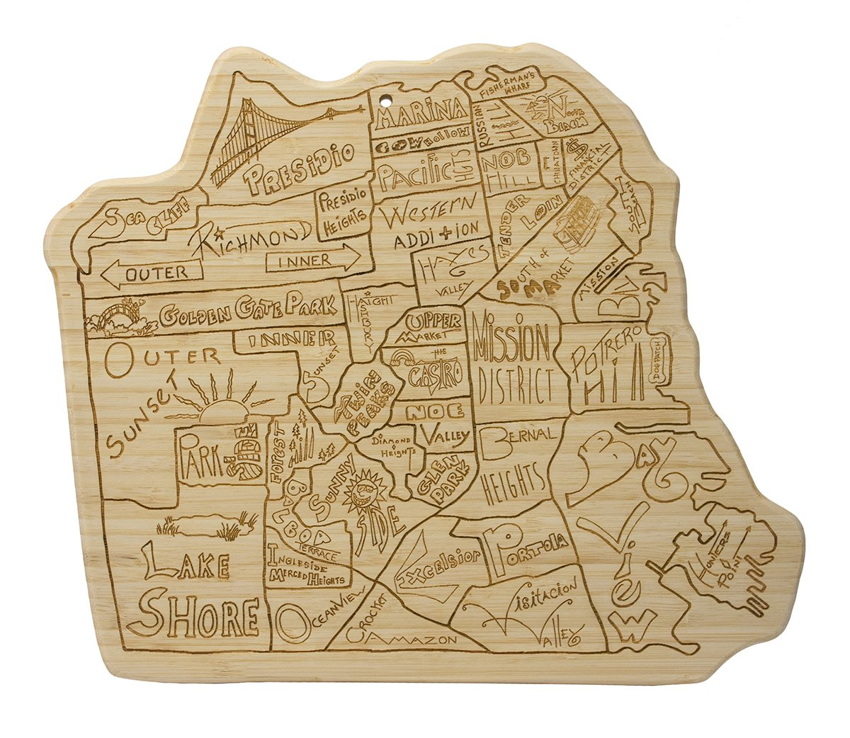 Amazon.com: Totally Bamboo City Life Serving Board, San Francisco ...