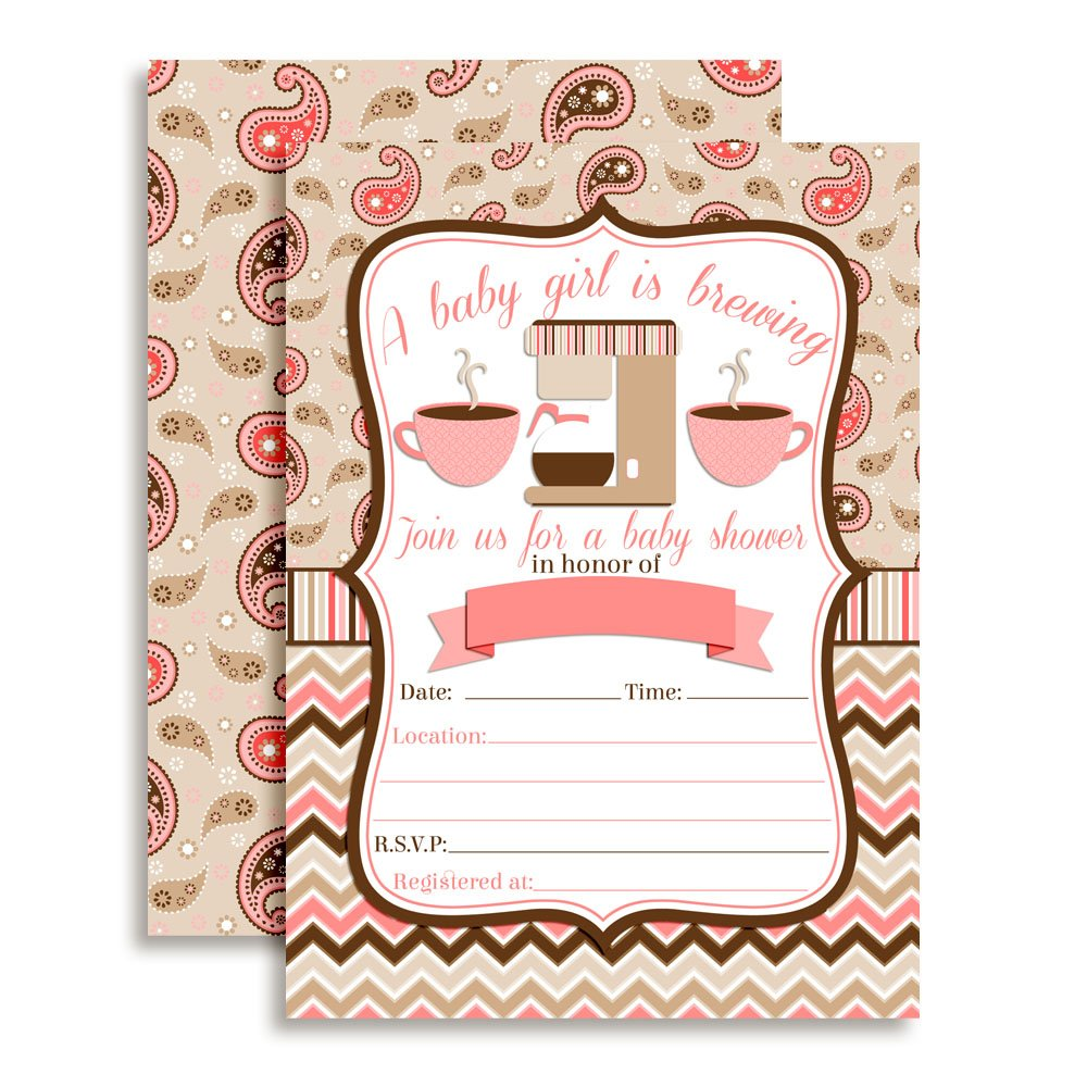 Amanda Creation Coffee Themed Baby Shower Girl Party Invitations Set of 20 with envelopes