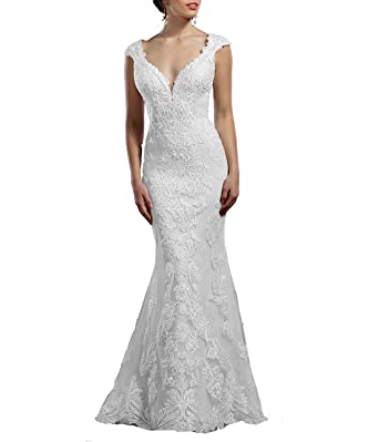 Mingxuerong Deep V-Neck Capped Mermaid Prom Dresses Lace Wedding Gowns For Bride With Train