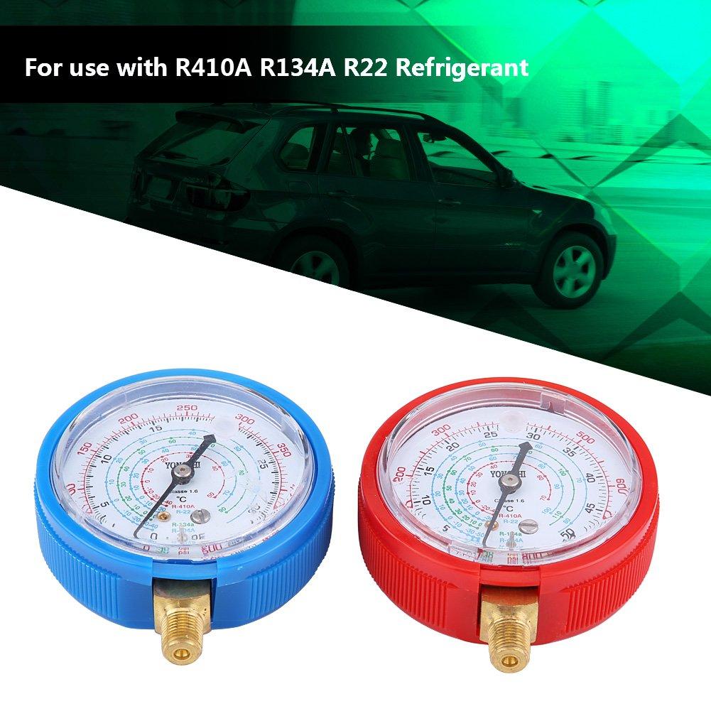 Cuque Refrigerant Gauge 1Pair of High /& Low Pressure Heads Car Air Conditioner Refrigerant Pressure Gauge Kit Brass Plastic for R410A R134A R22 Refrigerant