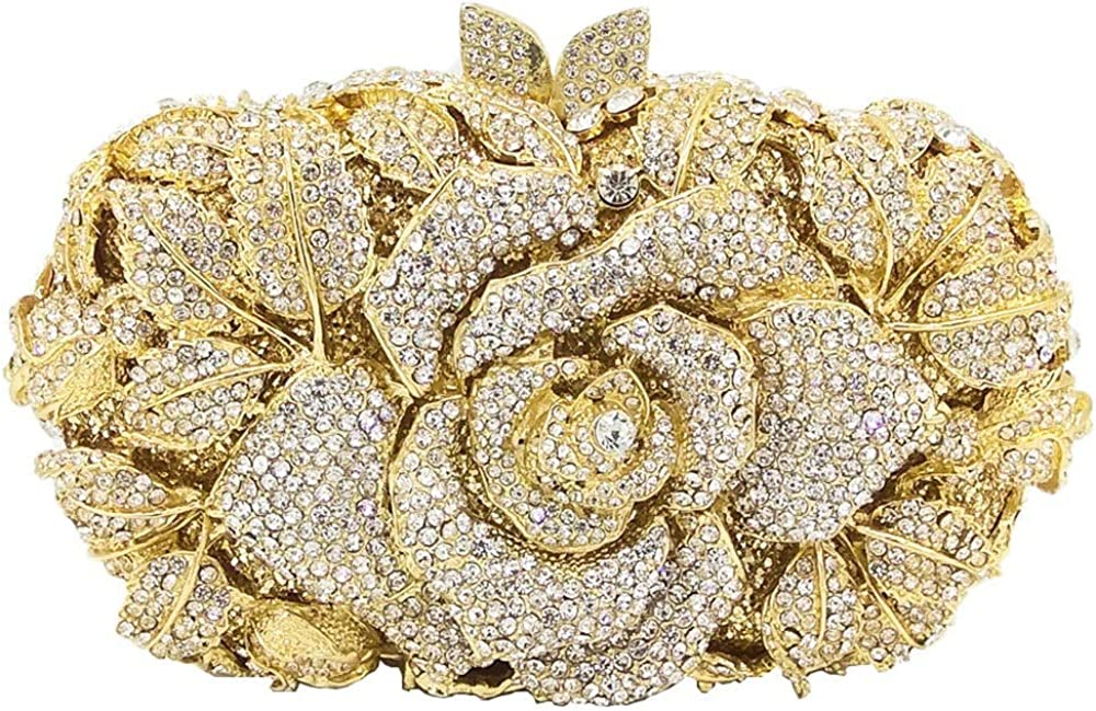 ZZZ Mujeres Rhinestone Diamante Rosa Molde Floral Calado Banquetes Embragues Celebración De Boda Vestido Nupcial Dama De Honor Festival Bolso De Noche Bolso Tote Monedero Belleza