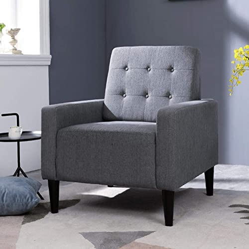 Top Space Accent Chair Living Room Chair Arm Chairs Single Sofa Upholstered Comfy Fabric Mid-Century Modern Furniture