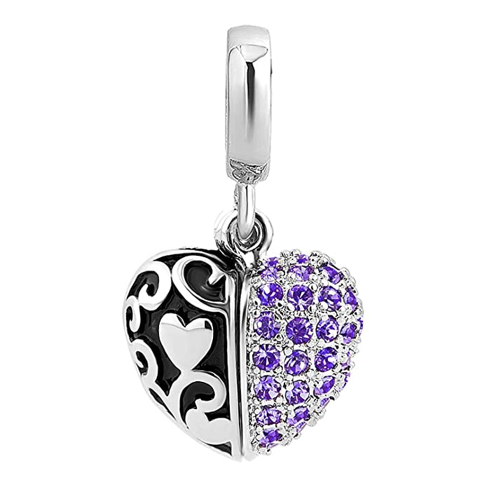 cef5183be Amazon.com: Charmed Craft Heart I Love You Charms Openable Crystal Charms  Dangle Beads for Snake Chain Bracelets (Blue): Jewelry