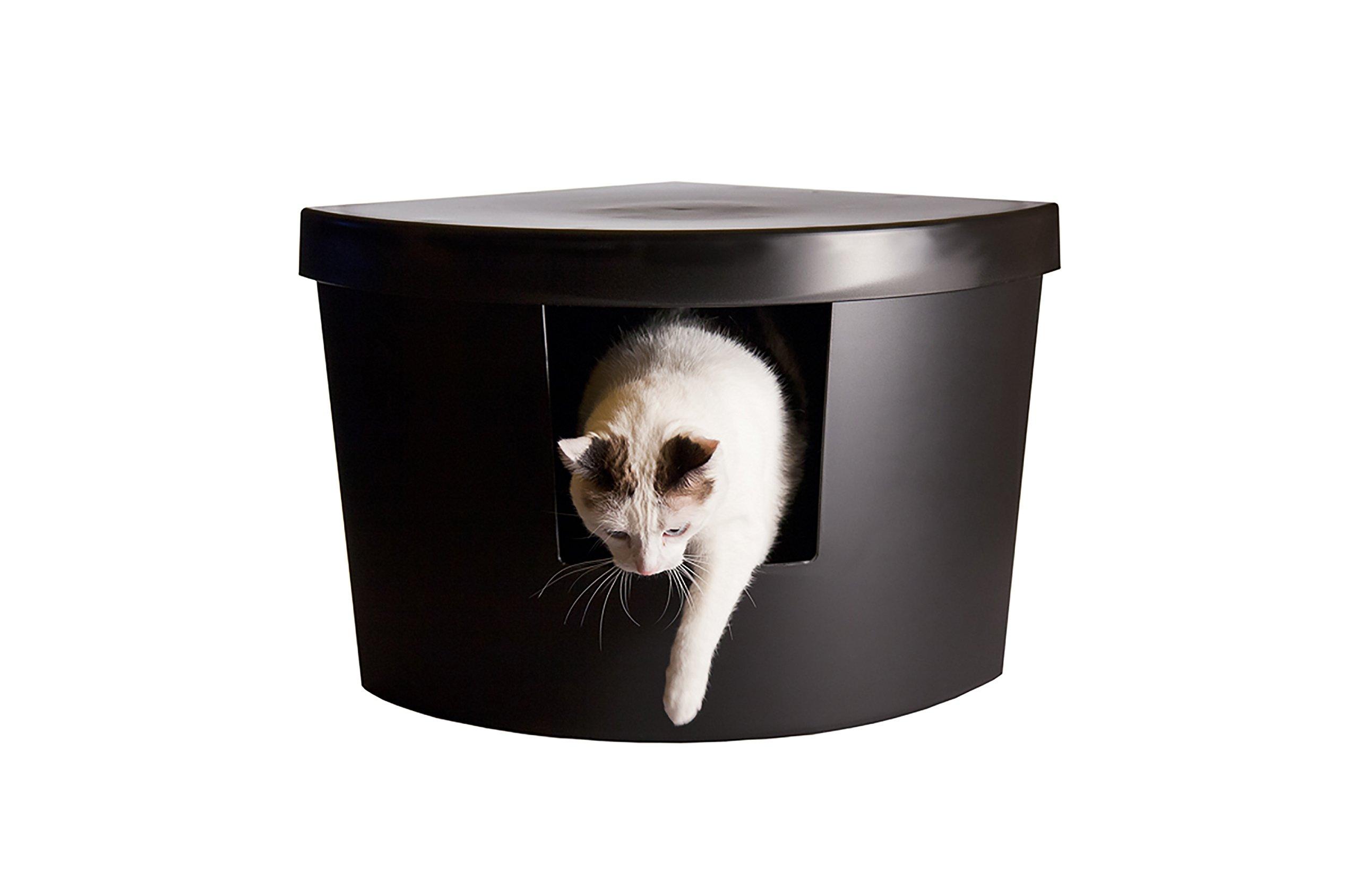 Kitangle Modern Cat Litter Box, Corner Kitty, Black by Kitangle