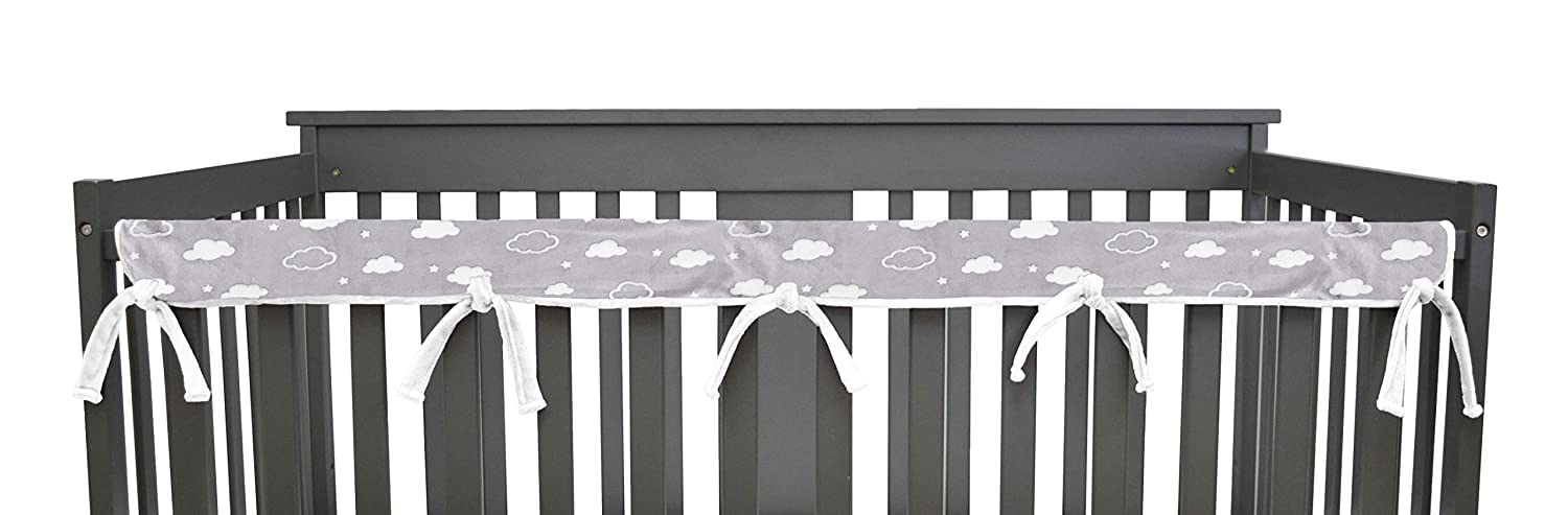 American Baby Company 2 Pack Heavenly Soft Chenille Reversible Crib Cover for Side Rails, Gray/White, Narrow for Crib Rails Measuring up to 8