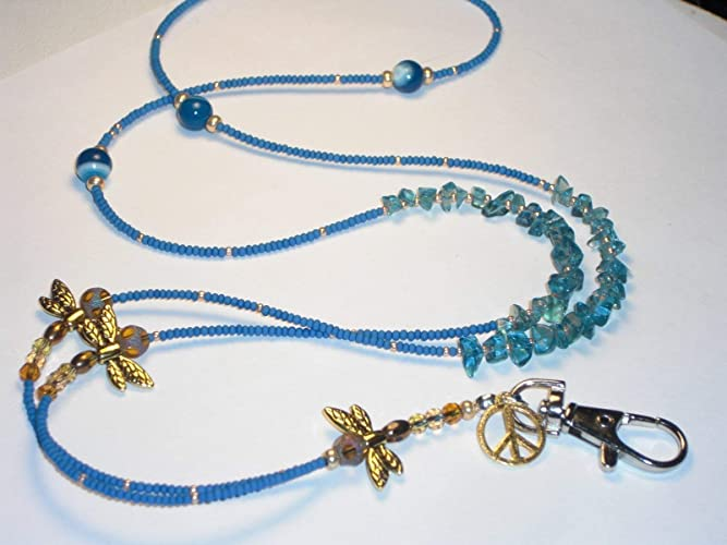 a2d70ce5e6a Amazon.com  Dragonfly Lanyard Blue Hand Beaded ID Badge Holder Key Chain  Necklace 36 inches  Handmade