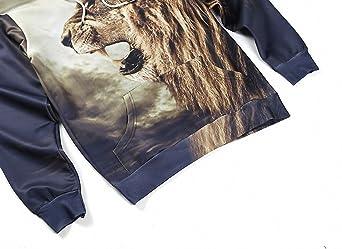 Amazon.com: Crochi Men Sweatshirt Autumn/Winter Fashion Hoodies 3D Animal Lion Print Sweatshirt Rap Hip Hop Hooded Pullover #L6001: Clothing