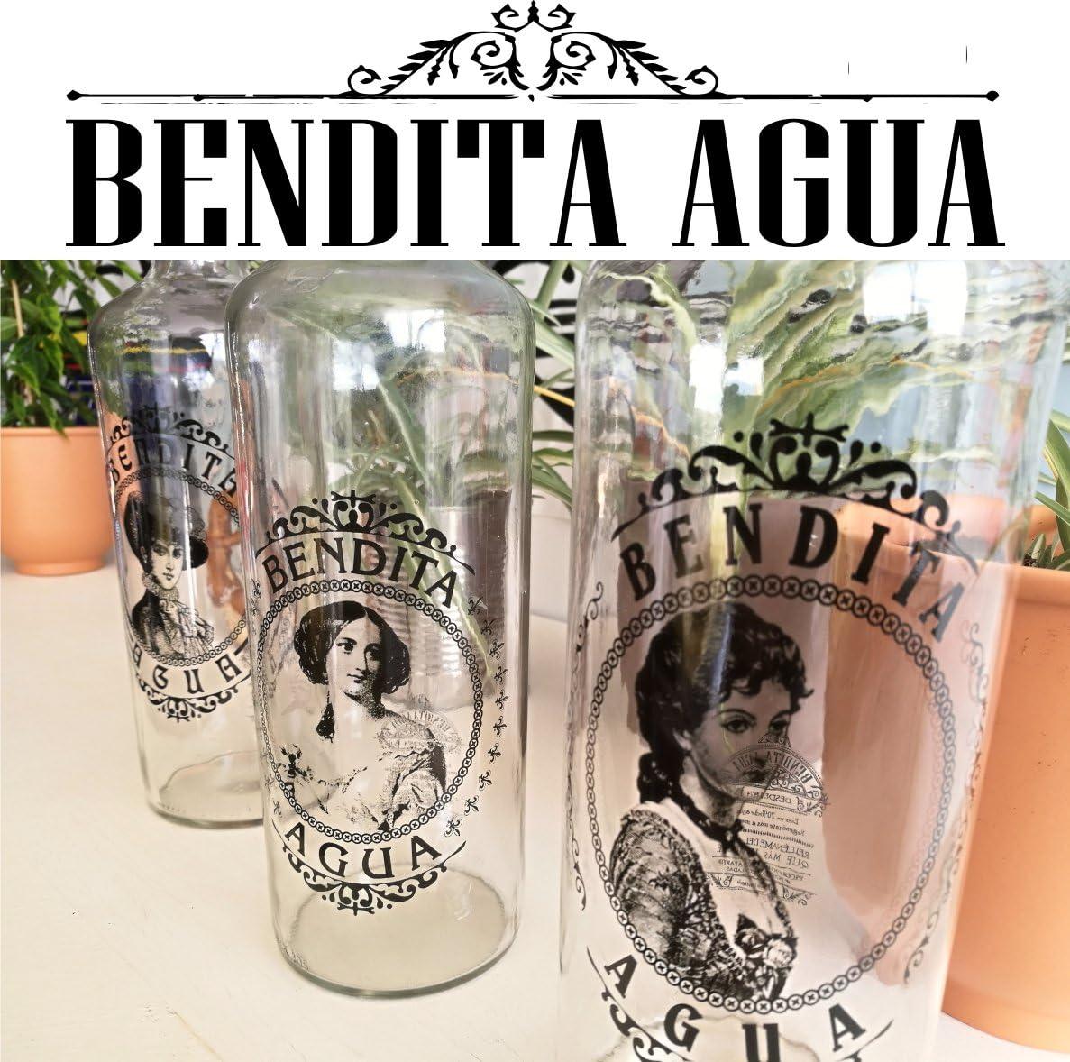 BOTELLAS DE CRISTAL 1 litro Colección Damas (3 Piezas)