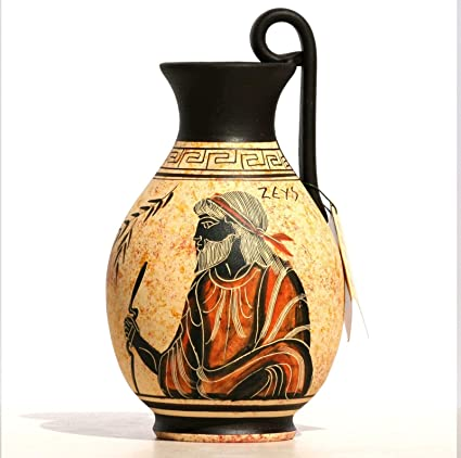 Amazon Greek Black Figure Ceramic Vase Pot Pottery Painting