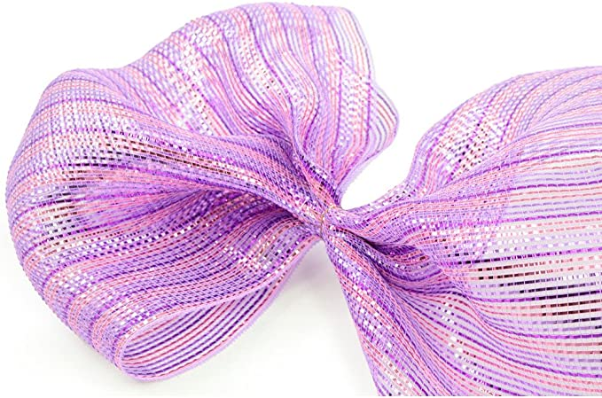 Durable /& Reusable Perfect For Decorating Deluxe Wide Foil Pink//Purple Stripe 10 Yards Waterproof 21 Wide Poly Deco Plastic Mesh Wrapping /& Crafts Spring /& Easter