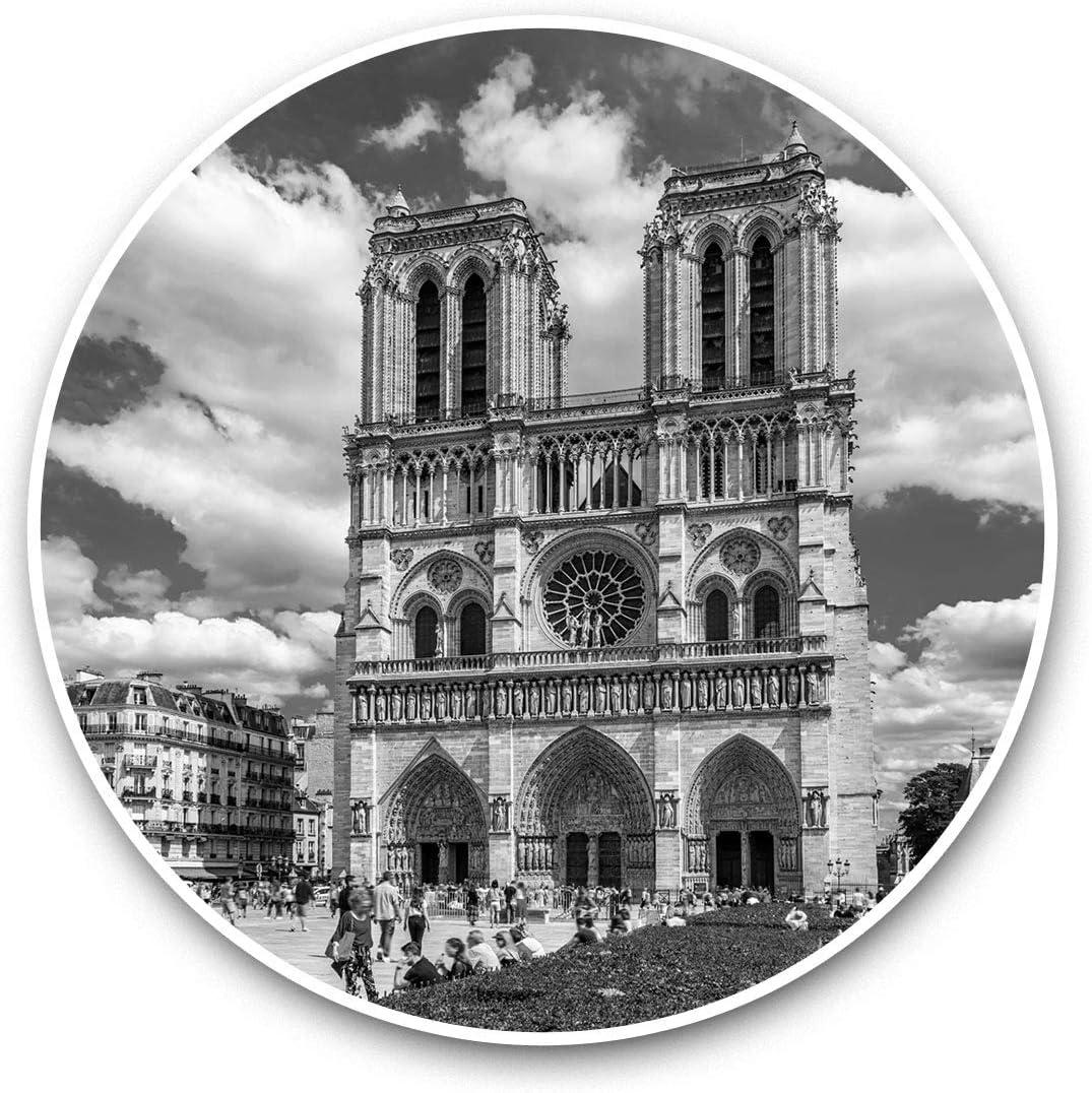 Vinyl Stickers (Set of 2) 15cm Black & White - Notre Dame de Paris Cathedral France Laptop Luggage Tablet #37090
