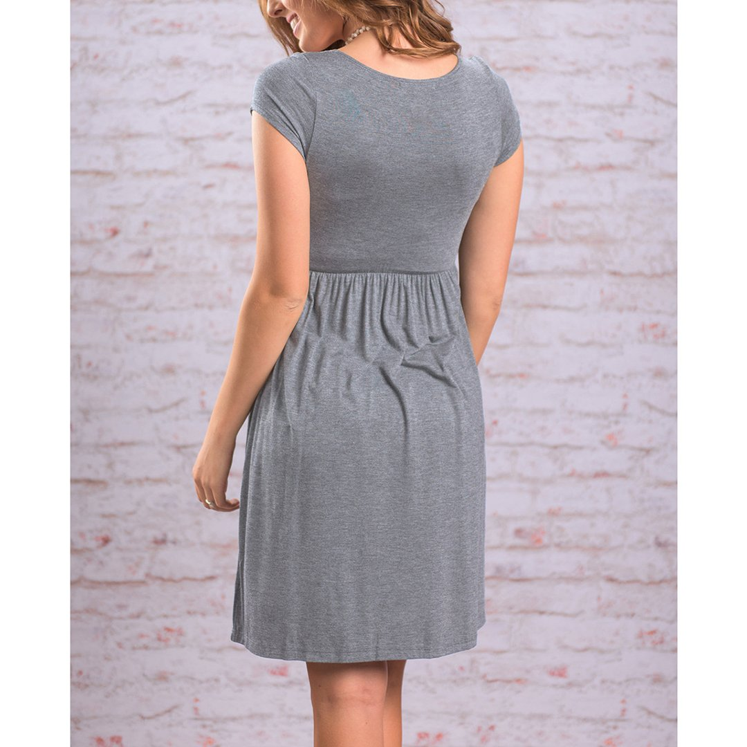 xzbailisha Womens Dress Elastic Waist Round Collar Short Sleeved Flared Dress