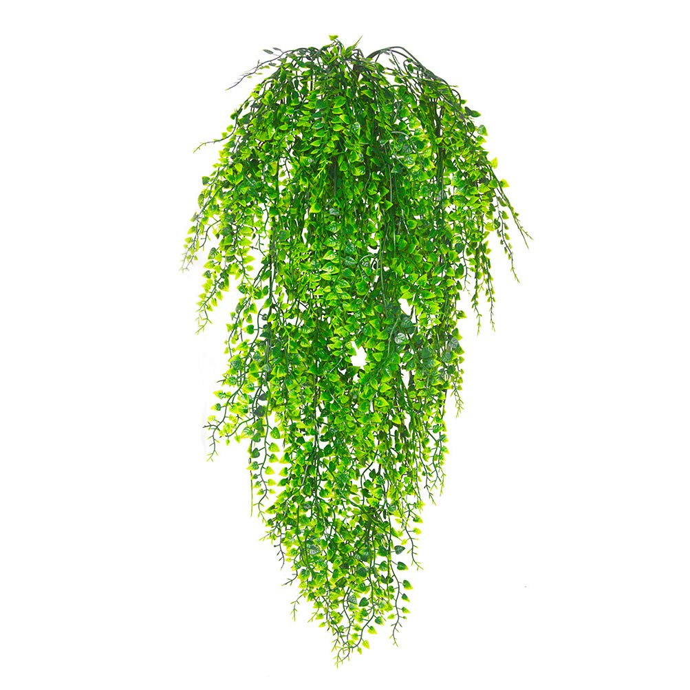 Artificial Plants Vines, Artificial Ivy Hanging Vine Plants Fake Flowers Faux Plastic Plant Wall Hangs Flower Vines Greenery Plant for Lndoor Outside Wedding Home Garden Hanging Basket Decor-2pcs Antspirit