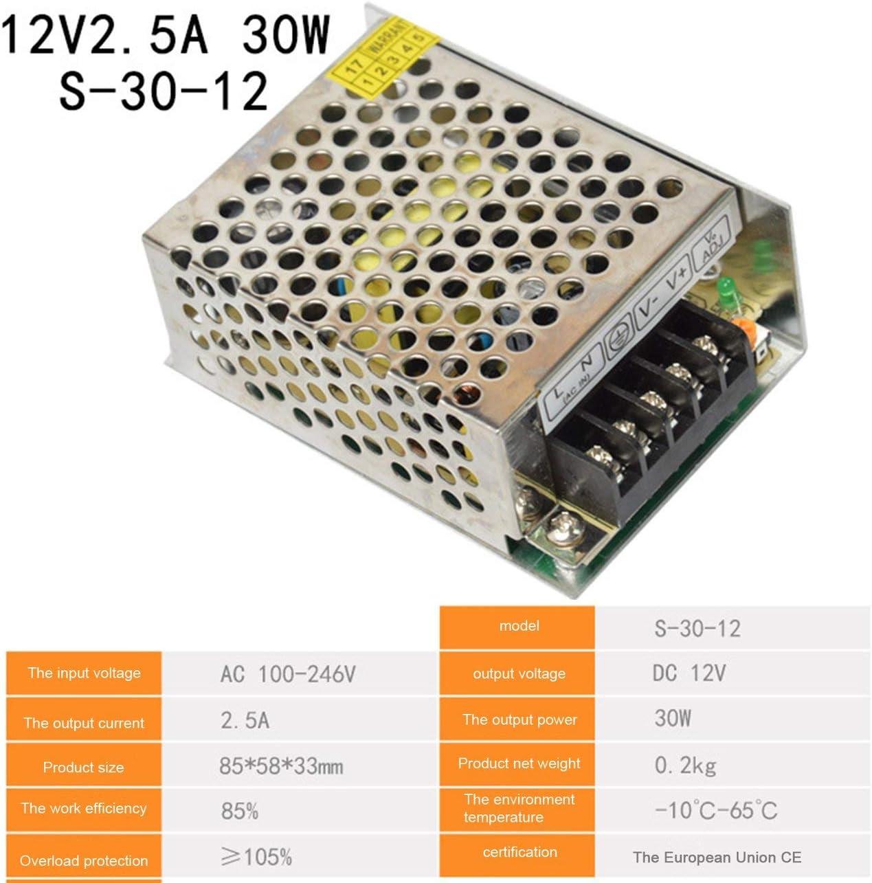 Ba30DEllylelly Fuente de alimentación conmutada DC12V 1A 1.25A 2A 2.5A 3A 3.2A 4.2A 5A 6A AC 220V a DC 12 voltios AC-DC 12V para Tira de LED de 12V