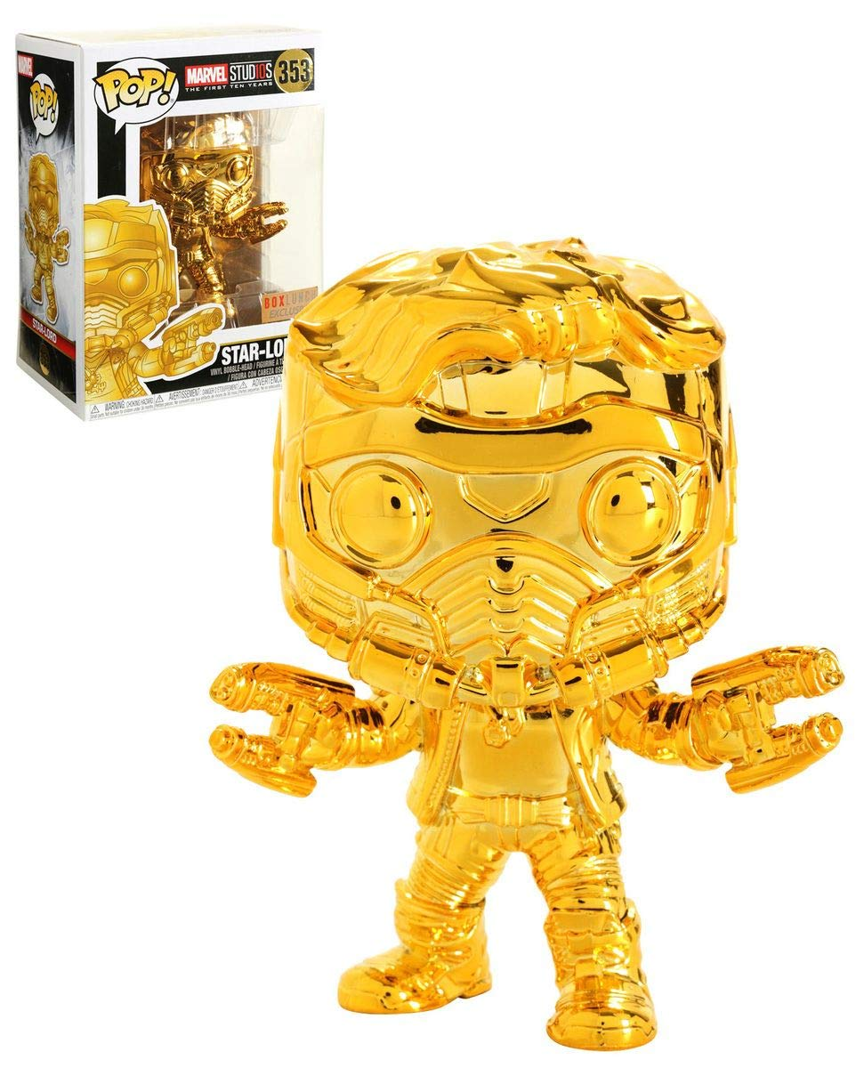 Multicolor Guardians of the Galaxy Funko Pop Movies Gold Chrome Star-Lord Collectible Figure