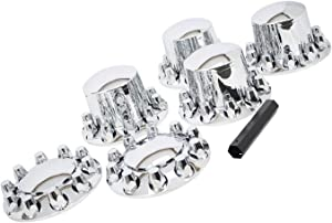 Wheel Cover Kit Chrome Front & Rear Complete 33mm Lug Covers Semi Truck