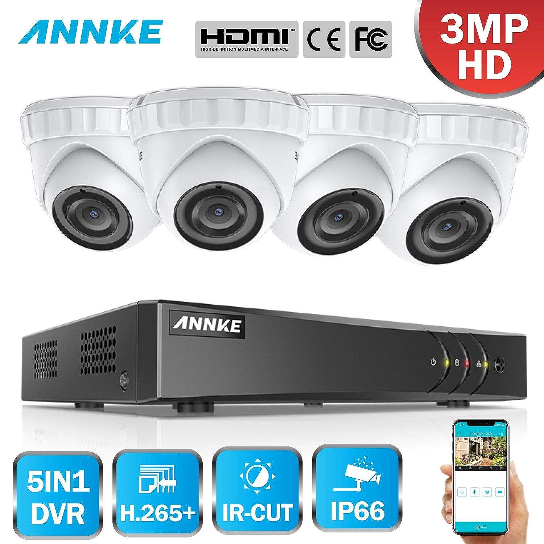 DVR mit 4 Au/ßen Metall 3.0MP Dome /Überwachungskamera Set,EXIR Nachtsicht,E-Mail Alarm mit Schnappsch/üssen,IP66 Wetterfest f/ür Haus Innen Au/ßen Video/überwachung ANNKE 3MP /Überwachungssystem 4CH H.265