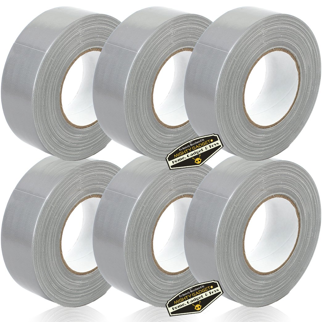 6 Rolls of Mighty Gadget (R) All- Purpose Utility Grade Duct Tape 1.88 inch x 60 Yards (Silver Gray Color)