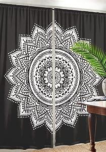 Truesellershop Vintage Ombre Mandala Window Curtains Indian Drape Balcony Room Decor Curtain Boho Set 82X41 Inches