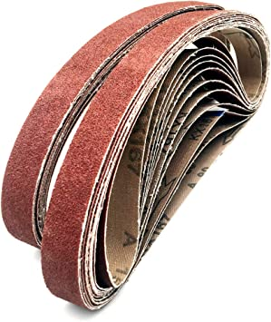 "15PC 1/"" X 30/""Abrasive Sanding Belts Aluminum Oxide Belt Sander 600 800 1000 Gri"