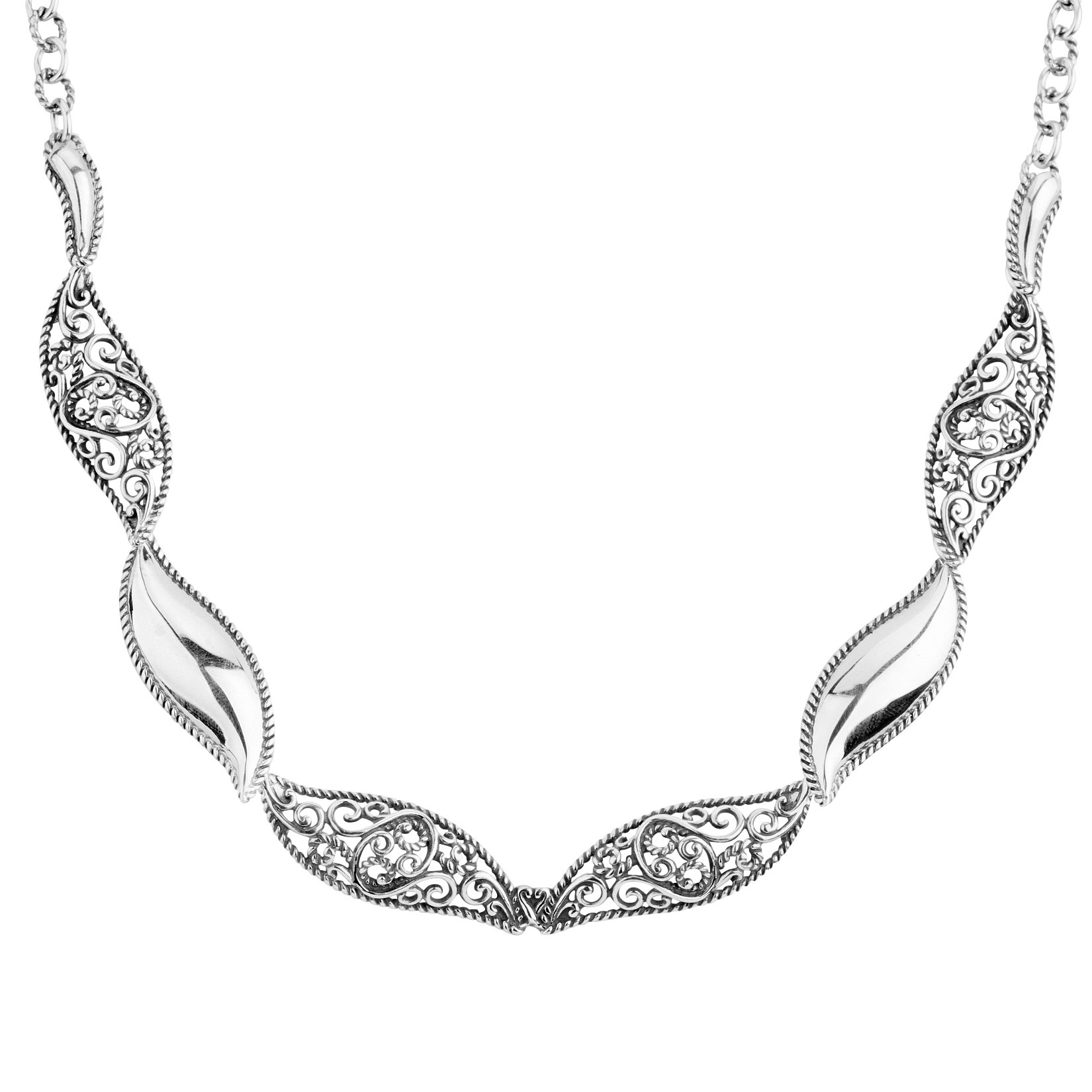 CP Signature Sterling Silver Smooth Filigree Necklace