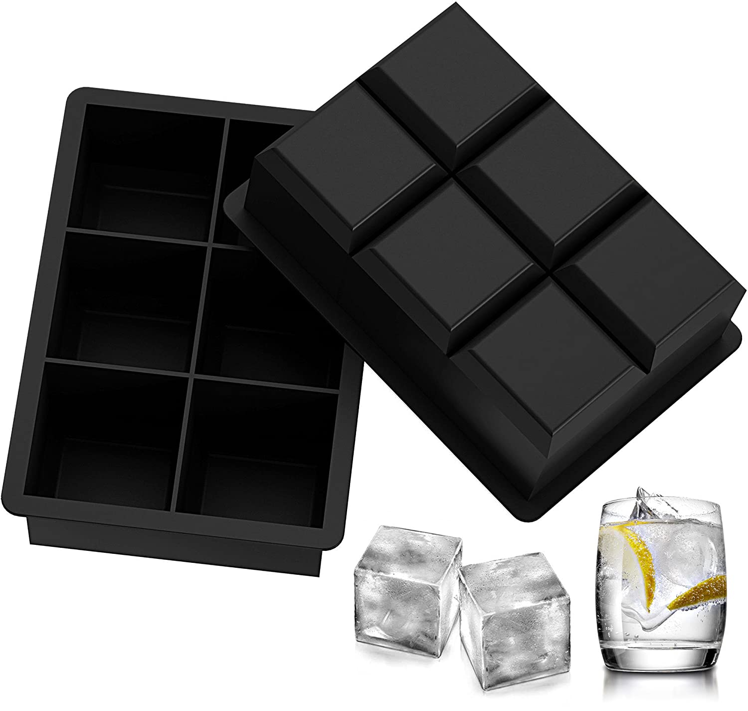 Ozera 2 Pack Silicone Ice Cube Tray Molds Candy Mold Cake Mold Chocolate Mold 6 Cavity Black CCC-023-3