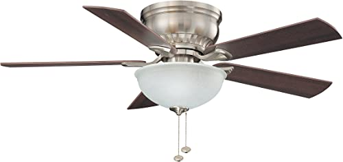 Litex CSU44BNK5C1 Crosley Collection 44-Inch Ceiling Fan with Five Reversible Maple Walnut Blades and Single Light Kit with Non-Swirl Alabaster Glass