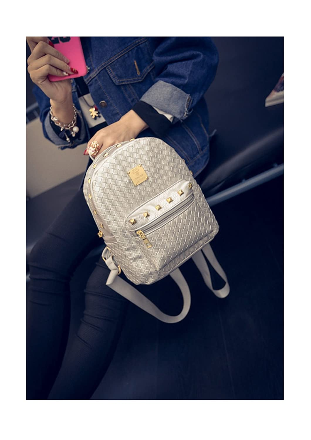 ThinkMax Women Fashion Rivet Travel Satchel Shoulder Bag Leather Backpack School Weave Rucksack Silver UK-I13828-LOVE