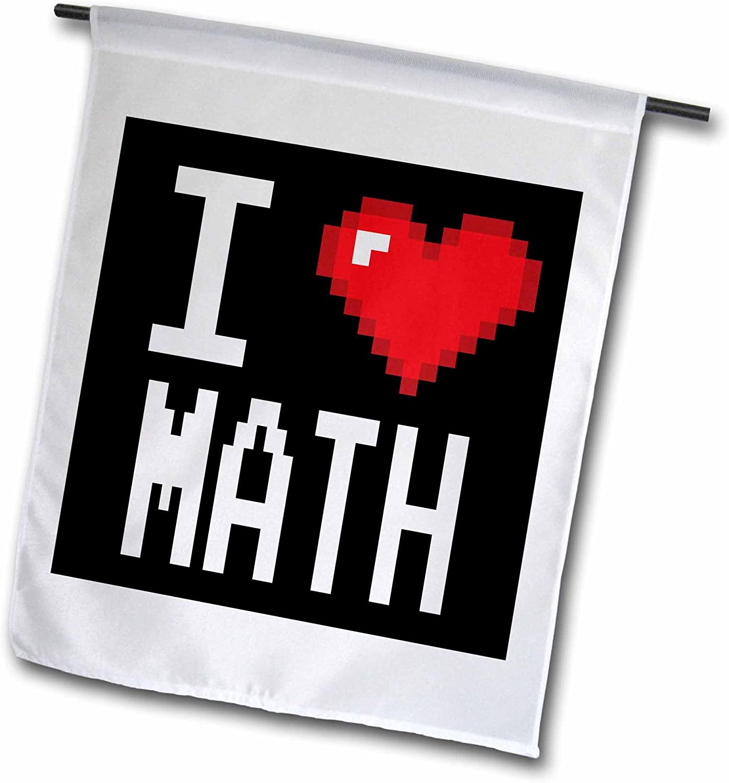 3dRose Dooni Designs Geek Designs - Geeky Old School Pixelated Pixels 8-Bit I Heart I Love Math - 18 x 27 inch Garden Flag (fl_118912_2)