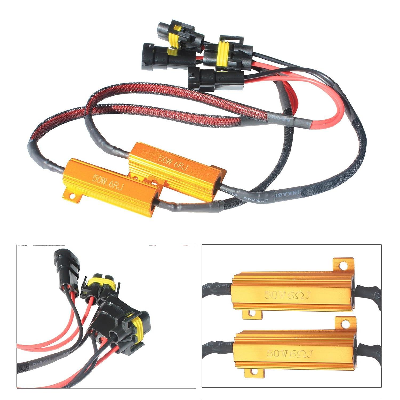 Bslighting 1 Pair 2pcs H8 H11 Led Headlight Drl Fog 12v Light Lamp Load Resistor Wiring Hid Warning Canceller Resistors Harness Canbus Automotive