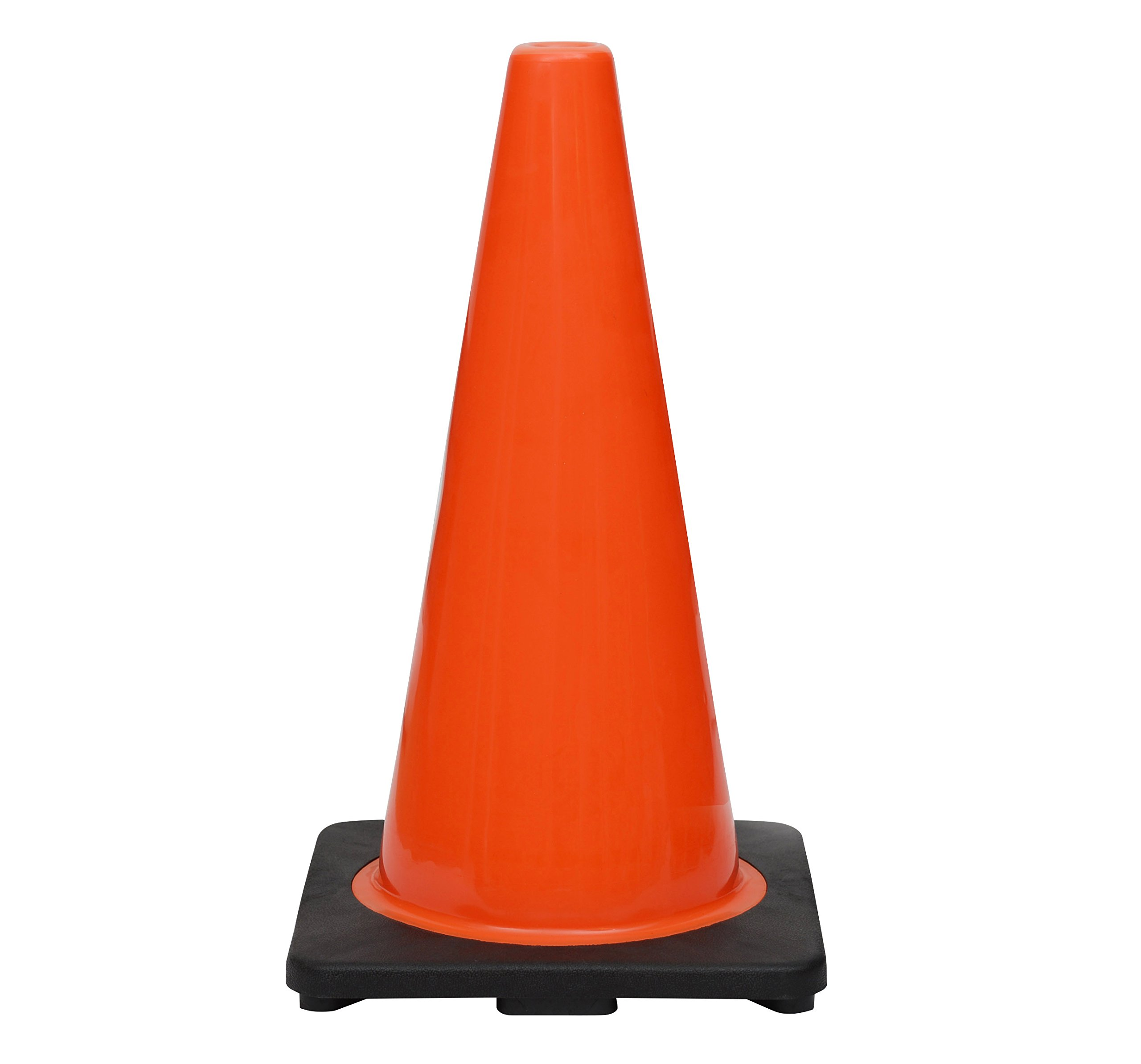 (24 Cones) CJ Safety 18'' Height PVC Traffic Safety Cones With Black Base - No Reflective Collars ( Set of 24 )