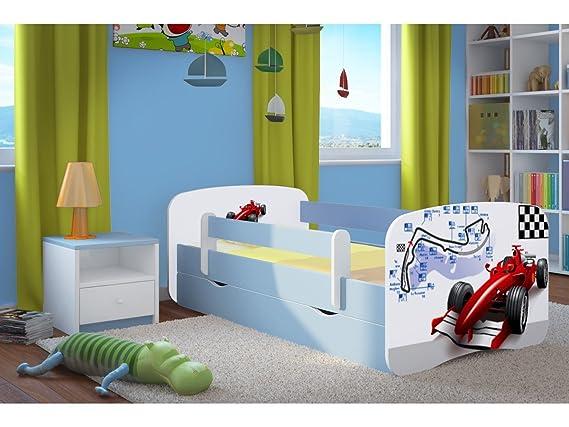 Kocot Kids Kinderbett Jugendbett 70x140 80x160 80x180 Blau mit Rausfallschutz Matratze Schublade und Lattenrost Kinderbetten