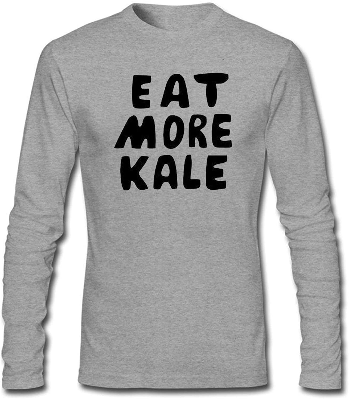 EAT MORE KALE Men's Long Sleeve Cotton Crewneck T-Shirt Grey