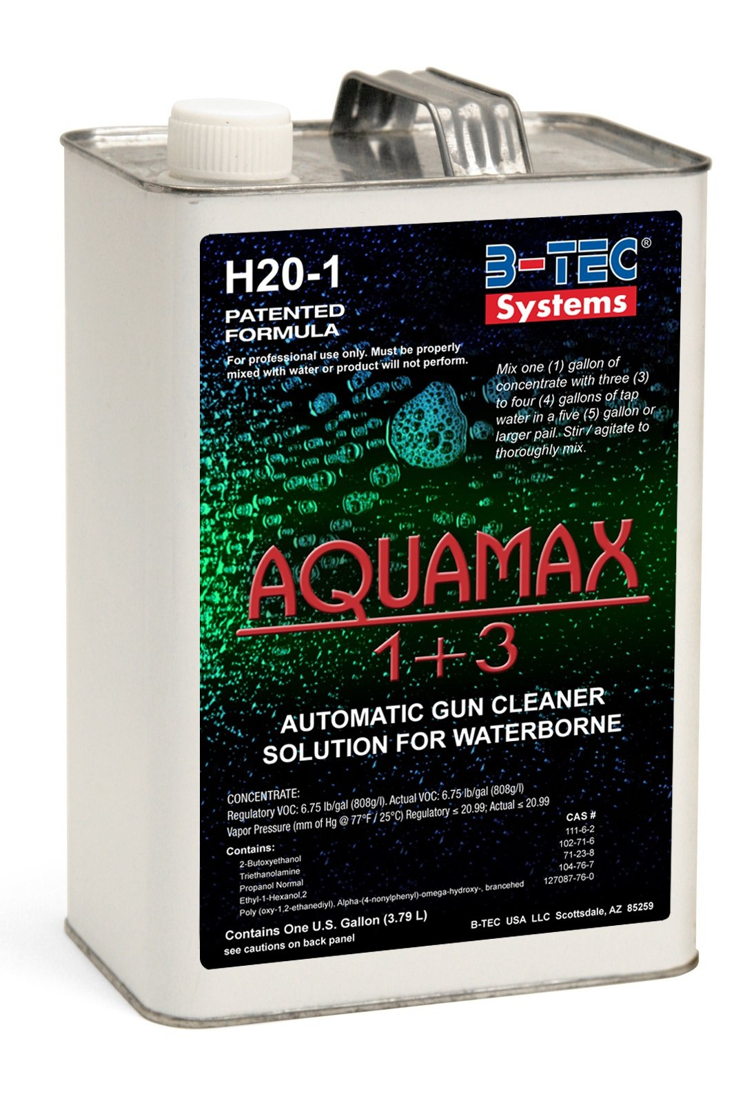 B-TEC Systems H2O-1 AquaMax 1+3 Automatic and Manual Spray Gun Cleaner for Waterborne Basecoats, 1 Gallon Container, National rule compliant