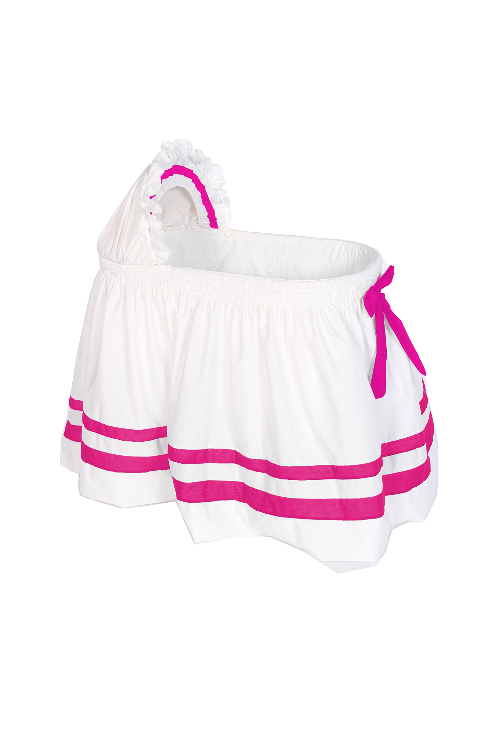 Baby Doll Bedding Modern Hotel Style II Bassinet Skirt, Hot Pink by BabyDoll Bedding