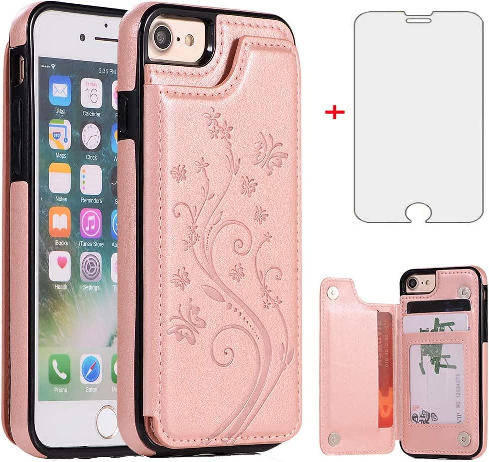 Phone Case for iPhone SE 2020/7/8 with Tempered Glass Screen Protector Card Holder Wallet Cover Stand Flip Leather Cell iPhoneSE2020 iPhone7 iPhone8 i Phones8 i7 i8 7s 8s Cases Women Rose Gold