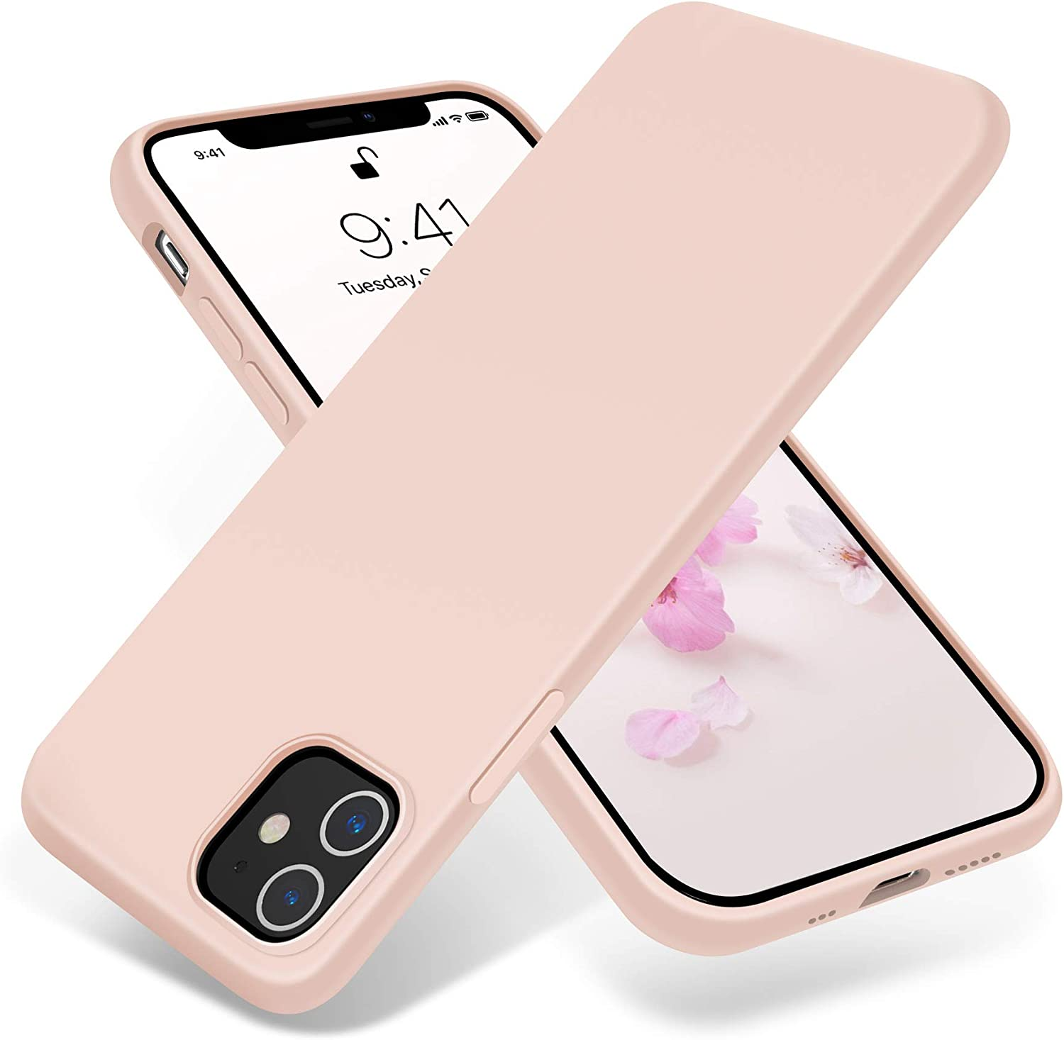 JELE Compatible with iPhone 12 Case and iPhone 12 Pro Case 6.1 inch(2020),Premium Soft Liquid Silicone Rubber Full-Body Protective Anti-Scratch Shockproof Bumper Case(Pink)