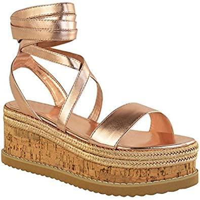 4d51a50fb21 Womens Ladies Cork Flatform Espadrille Wedge Sandals Ankle Lace Up Shoes  Size Rose Gold Metallic