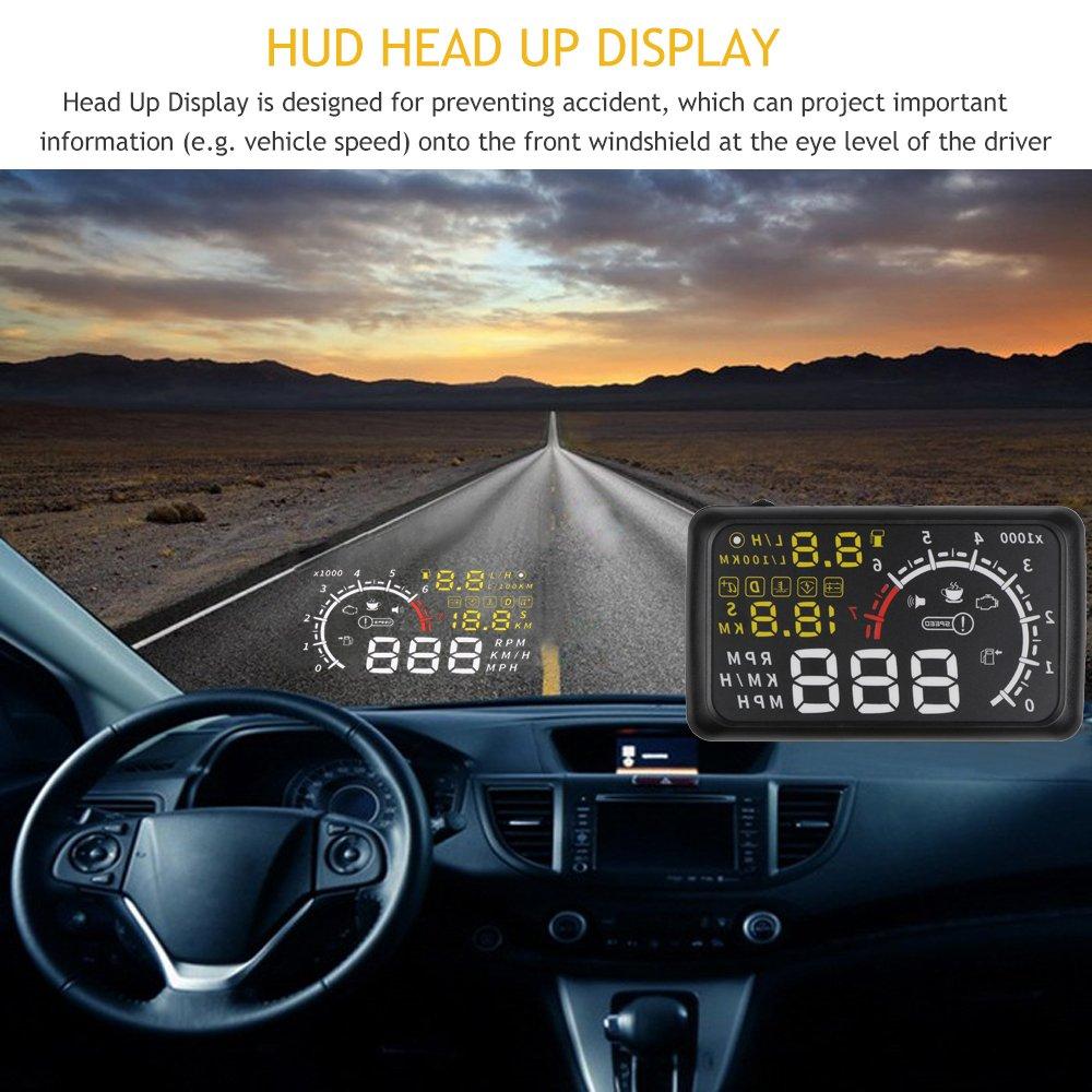 Kraftstoffverbrauch Geschwindigkeitswarnung MPH ONEVER 5.5inch OBDII Auto HUD Head up Display-OBD2 Stecker//Play-Schnittstelle Windschutzscheibe Projektor KM//h Umschalttaste Erinnern