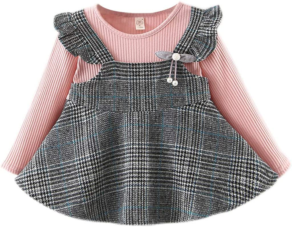 0-3 Years Baby Kid Dress Newest Toddler Baby Kids Girls Ruched Ruffles Striped Plaid Dresses Casual Clothes