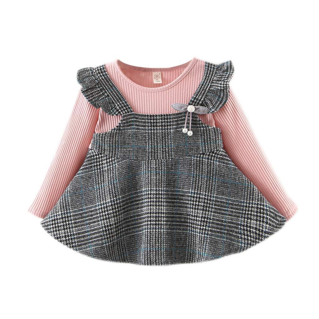 Patifia Kleinkind Baby M/ädchen Kleider Lange /Ärmel R/üschen Streifen Kariert Drucken Tr/ägerkleid Fake Zwei St/ücke Kleid