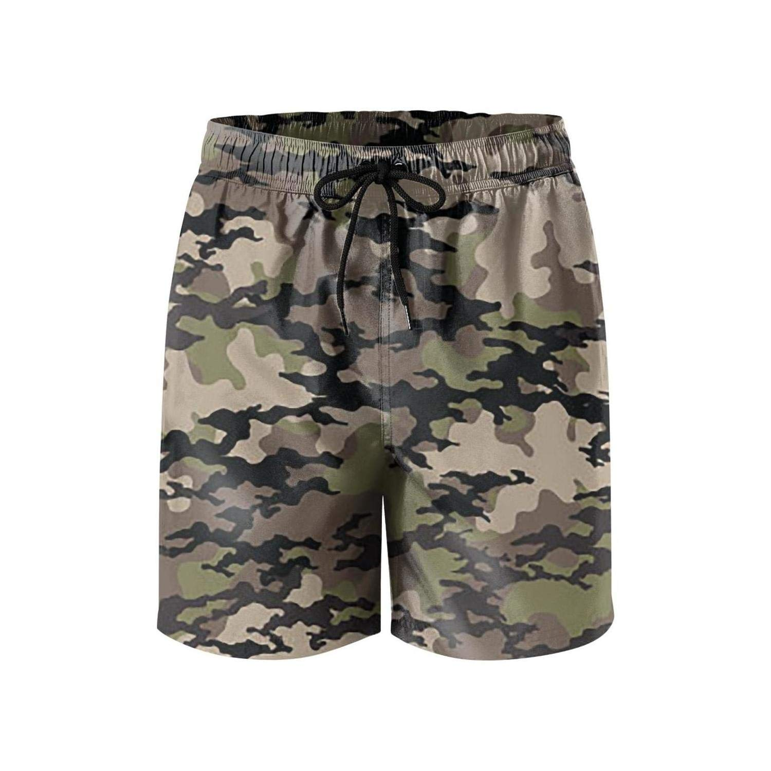 Feewearior Mens Beach Shorts Army Fashionable Camouflage Swimming Trunks Beach Pants