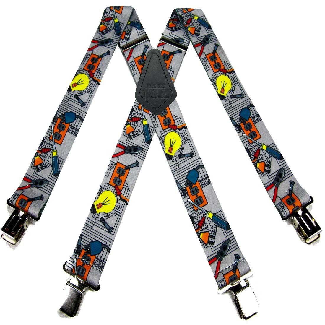 Gray - Teal - Orange Mens Contractors Tradesman Suspender Made in USA