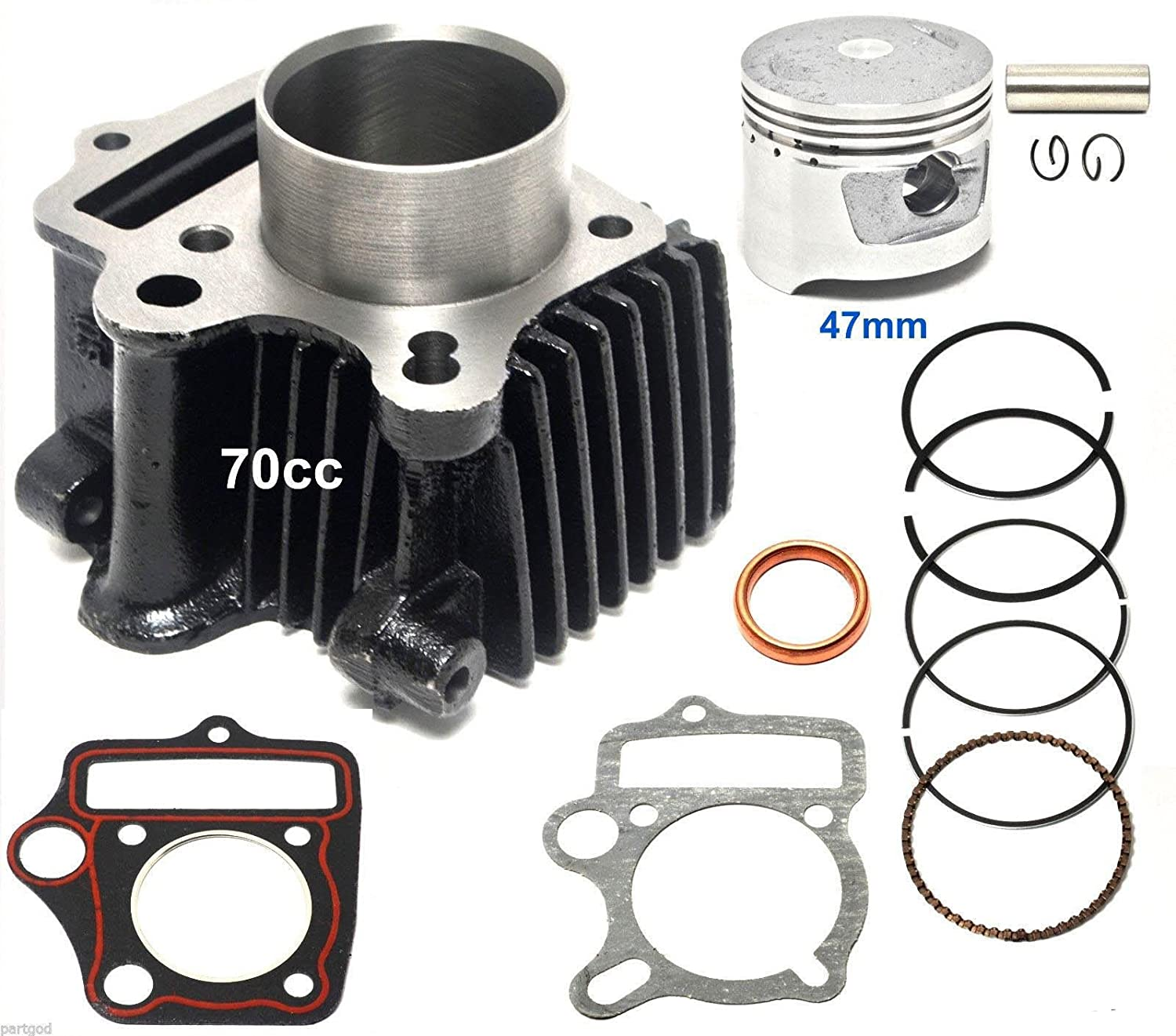 70cc 47mm Piston Cylinder Kit for Chinese ATV Dirt Bike GoKart 13mm pin1P47FMD WhatApart