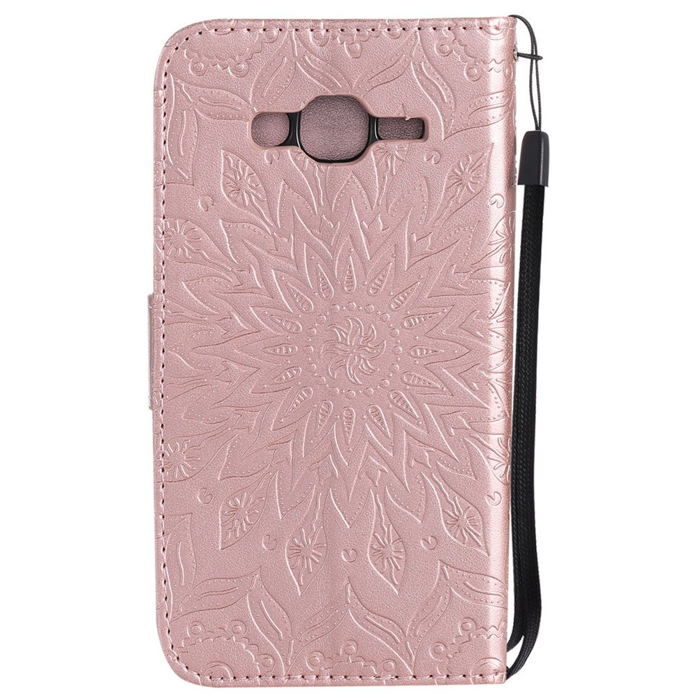 HMTECH Samsung Galaxy Grand Prime Case J2 Prime Case SUN Flower Embossed Floral Wallet Case Card Slots PU Leather Flip Stand Cover for Samsung Galaxy ...