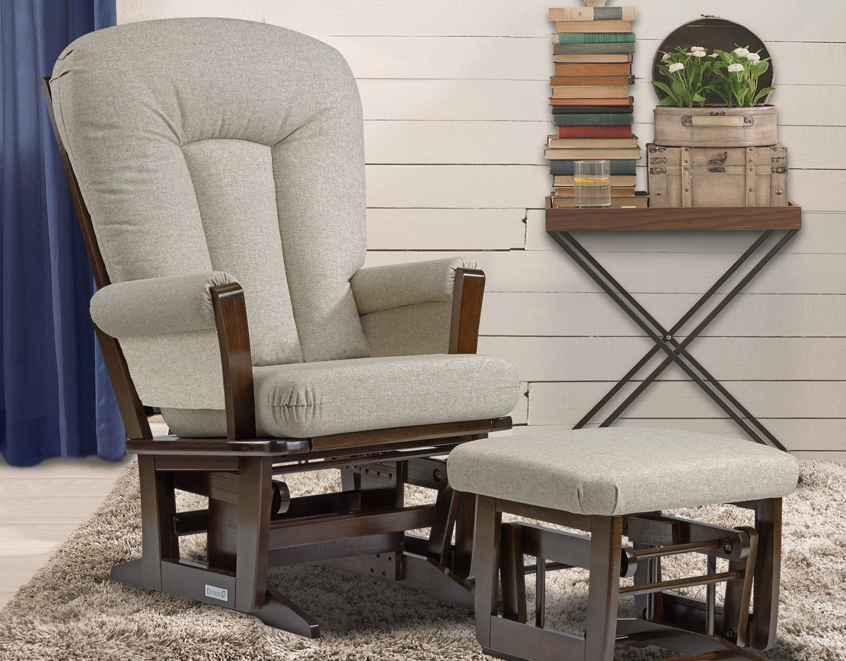 Dutailier Modern Glider and Ottoman Set, Coffee/Harvest Beige C00-64B-62-5286