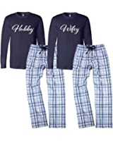 Classy Bride Wifey and Hubby Pajamas Set - Blue